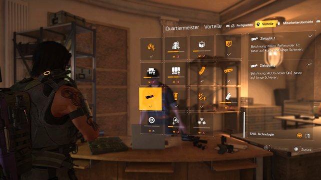 Für wenige SHD-Technologie erhaltet ihr einige nützliche Waffen-Mods beim Quartiermeister.