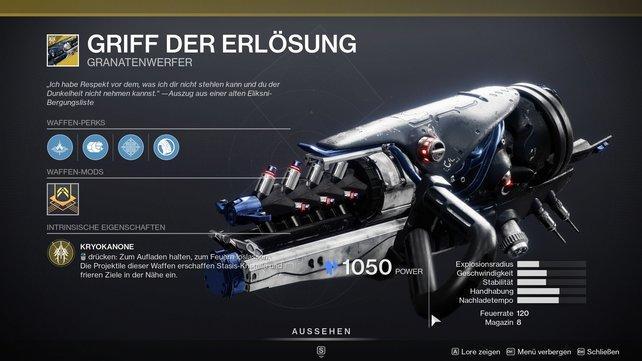 """Die erste Waffe mit Stasis-Element: """"Griff der Erlösung""""."""