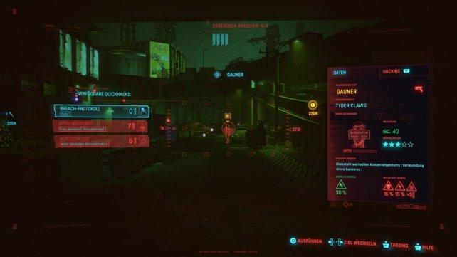 In Cyberpunk 2077 scannt ihr die Umgebung und haltet Ausschau nach potenziellen Hacking-Zielen.