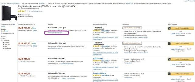 Wollt ihr eine PS4 gebraucht bei Amazon kaufen, dann schaut euch immer die weiteren Informationen an.