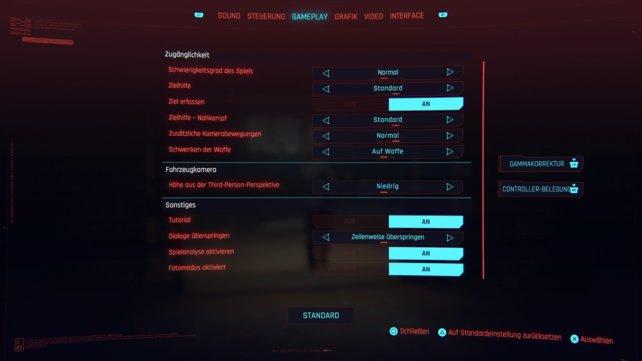 Ganz oben könnt ihr den Schwierigkeitsgrad von Cyberpunk 2077 ändern.