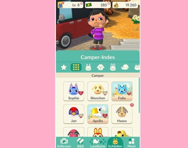 Klickt im Camper-Index auf einen Bewohner, um alle wichtigen Informationen einsehen zu können. Hier erfahrt ihr auch, welche Belohnungen euch bei einer starken Freundschaft erwarten.