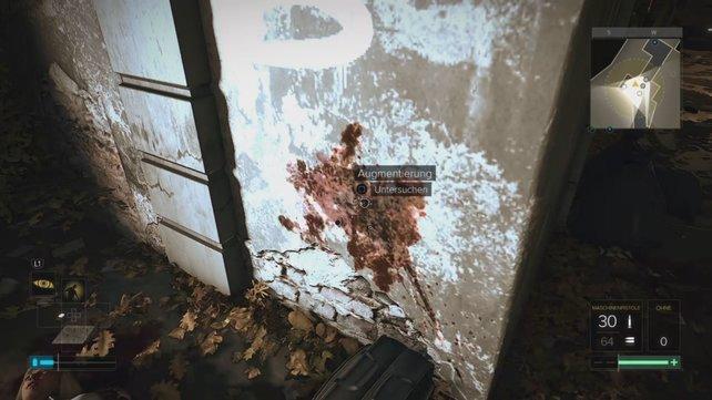 Vergesst nicht die Wand abzusuchen, denn Beweise können dank einer Explosion in alle Ecken gelangen.