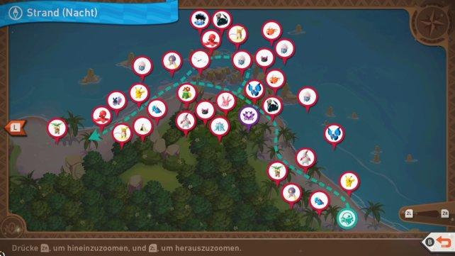 """Karte mit Pokémon-Fundorten auf der Strecke """"Strand (Nacht)""""."""