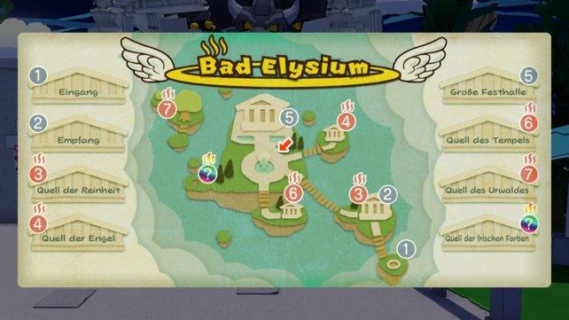 Die Karte zeigt euch, wo sich alle Quellen in Bad Elysium befinden.