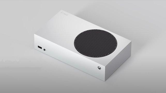 Die weiße Xbox Series S macht auch liegend eine gute Figur.