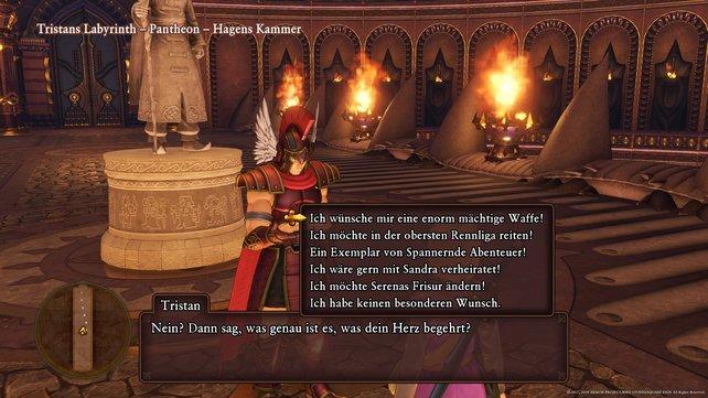 Zum Ende von Dragon Quest 11 trefft ihr Tristan und bei ihm habt ihr diese Wünsche frei – vorausgesetzt ihr besteht seine Prüfungen.