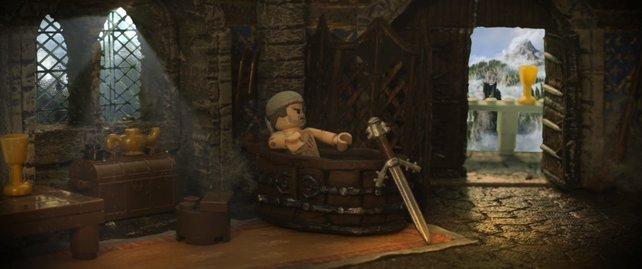 LEGO The Witcher: Geralt gönnt sich auch als LEGO-Figur gerne ein heißes Bad.