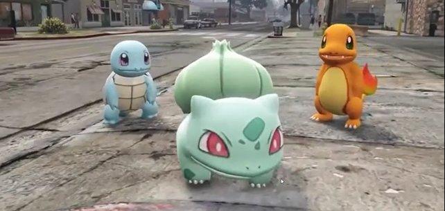 Ein ungewohnter Anblick: Die Starter-Pokémon in der Welt von GTA 5.