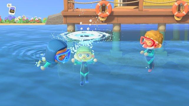 Badespaß mit Freunden in Animal Crossing New Horizons.