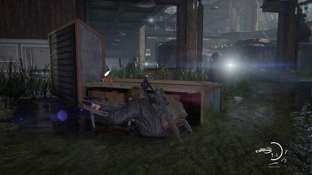 Habt iher die beiden WLFs ausgeschaltet, müsst ihr das überschwemmte Gebäude betreten, aus dem sie herausgekommen sind, und auch die restlichen Gegner erledigen.