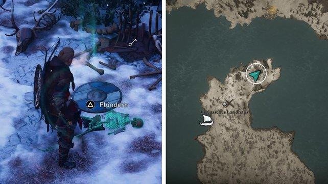 Die Karte zeigt euch den Fundort des Schlüssels für das verlassene Landhaus.