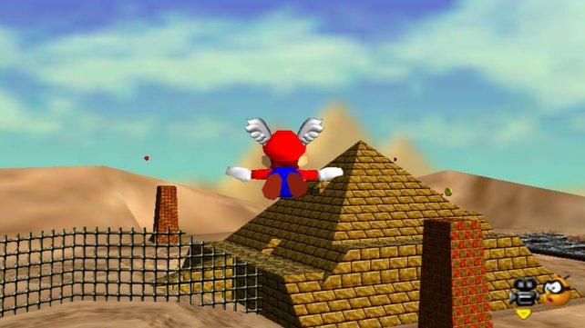 Die Federkappe wird für einige Sterne in Super Mario 64 benötigt und ist vor allem im Wüstenlevel eine sehr große Hilfe.