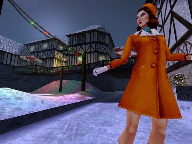 Cate Archer in No One Lives Forever im luftigen Outfit an kühlen Wintertagen