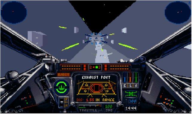 Auch bei X-Wing spielt man die bekannte Sequenz über dem Todesstern nacht.