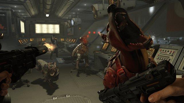 Während ihr aus der Entfernung auf Gegner schießt, erwehrt ihr euch gleichzeitig gegen einen angreifenden Kampfhund. Geschnitten wird hier nichts.