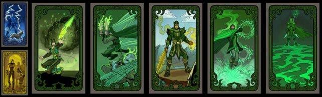 Alle Raffinesse/Zauberkraft-Schicksalskarten in einer Reihe.