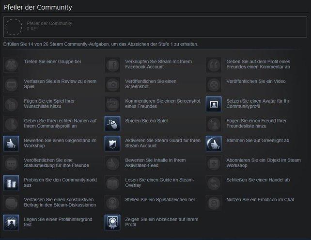 Die Pfeiler der Community bieten euch die Möglichkeit, einige Steam-Aufgaben zu erledigen, dabei XP einzusammeln und so Abzeichen zu generieren, um im Steam-Level aufzusteigen.