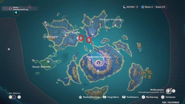 Die Karte zeigt euch alle Angelstellen auf Seirai.
