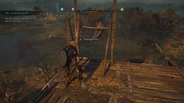 Greift das feindliche Lager an, klettert dann den Kirchturm hinauf und stoßt hier in das große Horn.