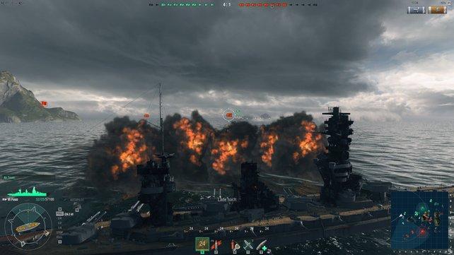 Grafik und Tonkulisse von World of Warships passen gut zum Thema.