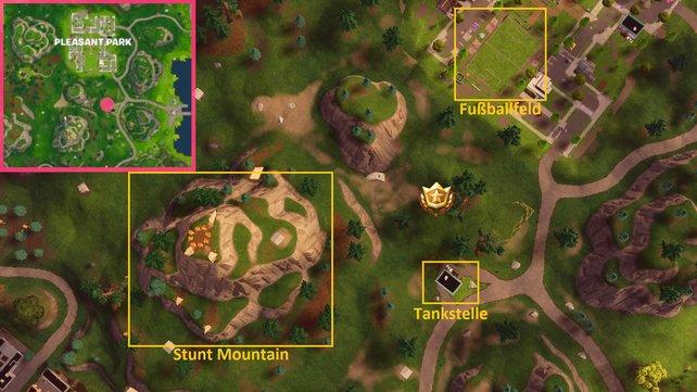 Den Fundort haben wir euch hier gleich zwei Mal markiert. Oben links auf der Karte und im Bild seht ihr den Battle-Stern zwischen Tankstelle, Fußballfeld und Stunt Mountain.