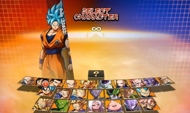 Einer von zwei legendären Kriegern: SSGSS Goku. Vegeta in seiner stärksten Form findet ihr rechts im Auswahlbildschirm. C-21 erscheint mittig unten.