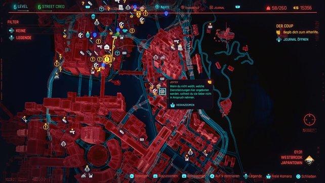 Die Karte zeigt euch den Fundort der Joytoys in Japantown.