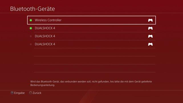 In der Geräte-Übersicht wird der PS5-Controller angezeigt, aber ihr könnt ihn leider nicht auf PS4 verwenden.