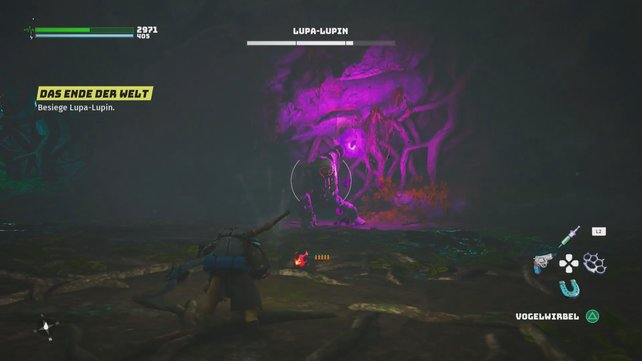 In Phase 1 greift Lupa-Lupin gerne mit schneidenden Sandwellen an, denen ihr durch Rollen ausweichen könnt.