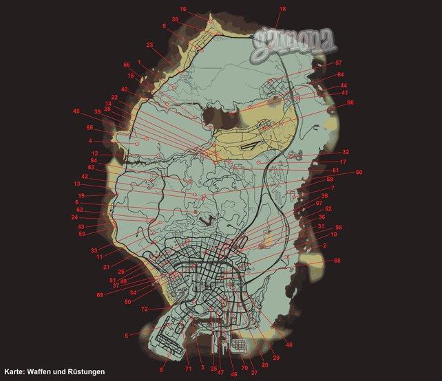 Fundorte aller Waffen und Rüstungen. Zum Vergrößern auf die Map klicken.