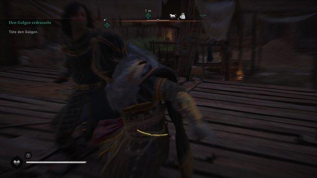 Den Galgen schaltet ihr am einfachsten aus, indem ihr direkt auf ihn zustürmt und ihn mit einem Attentat erledigt.