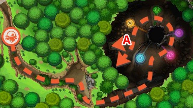 Ruinen-Karte mit allen Routen.