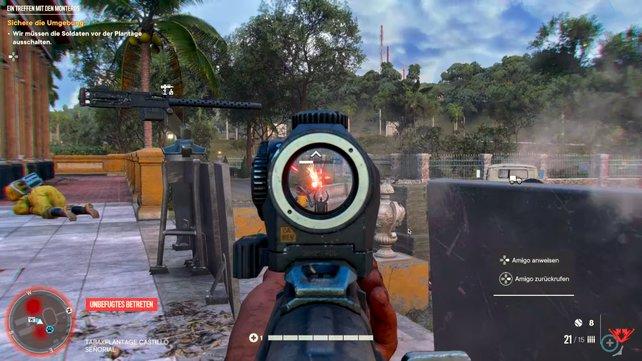 Das Schießen ist in Far Cry 6 die befriedigendste Beschäftigung. Denn die Waffen steuern sich genau und wuchtig.