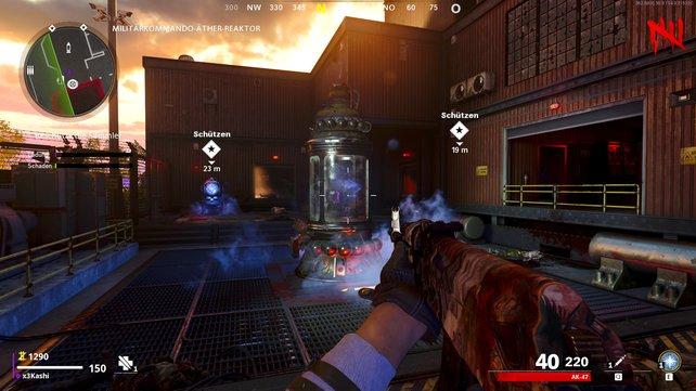 Schaltet den Reaktor ein und beschützt die markierten Sammler vor den Zombies.