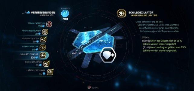 In Mass Effect - Andromeda sorgen die Verbesserungen für noch effektivere Rüstungen.