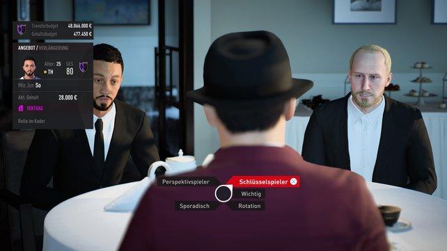 Wollt ihr Verträge in der Karriere verlängern, müsst ihr Gespräche mit Spielern und Beratern führen.