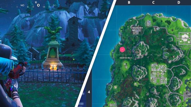Ganz im Nordwesten der Karte findet ihr die Fledermausstatue auf dem Friedhof.