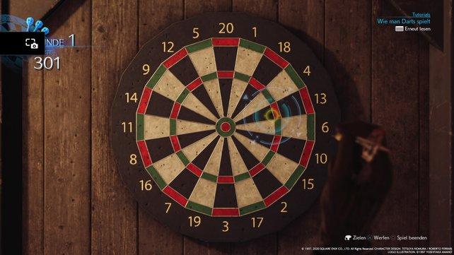 Beim Darts-Minispiel kommt es auf eine Mischung aus Gefühl und Timing an.