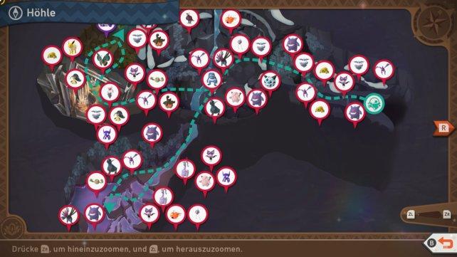 """Karte mit Pokémon-Fundorten auf der Strecke """"Höhle""""."""