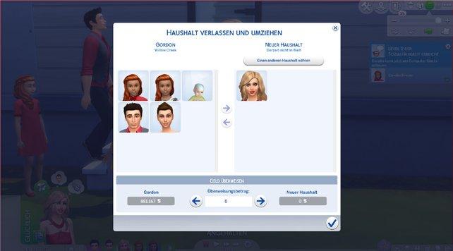 Hier könnt ihr einstellen, welche Sims in den neuen Haushalt ziehen sollen.