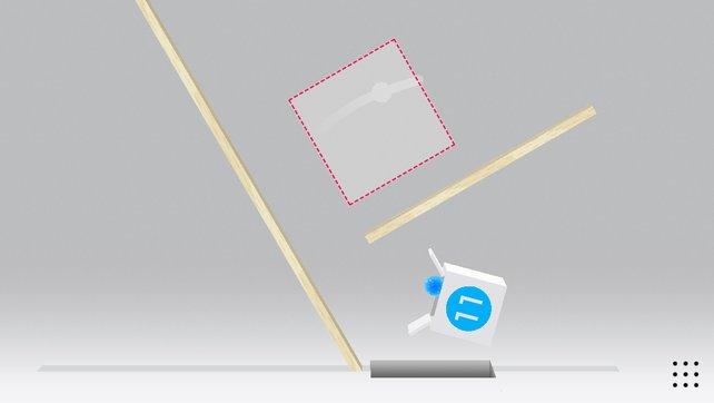 Simpel, aber dennoch fesselnd: Werft den Ball aus dem roten Bereich in die Box.