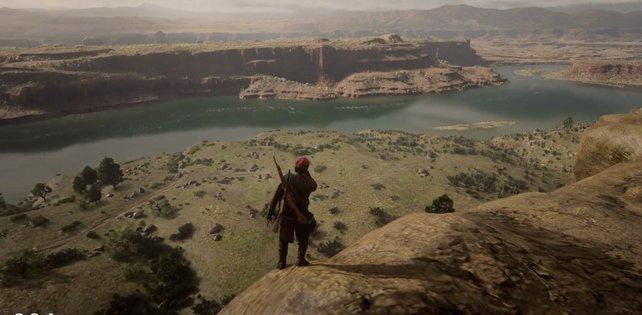 Solche Höhen zu überqueren dauert in Red Dead Redemption 2 seine Zeit - außer man übergibt sich. (Quelle: Wizemen via Reddit)