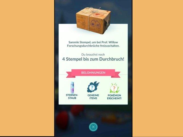 Neben Sternenstaub und einem Pokémon, erhaltet ihr bei einem Forschungsdurchbruch auch zufällige Items. Das sind beispielsweise Beeren oder andere nützliche Gegenstände wie Tränke.