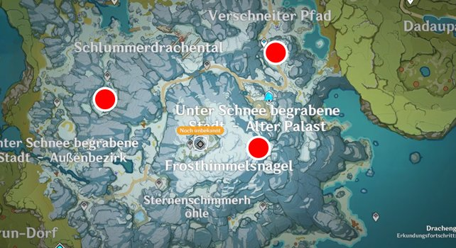 Die Karte zeigt euch die drei Fragment-Fundorte, die ihr untersuchen müsst.