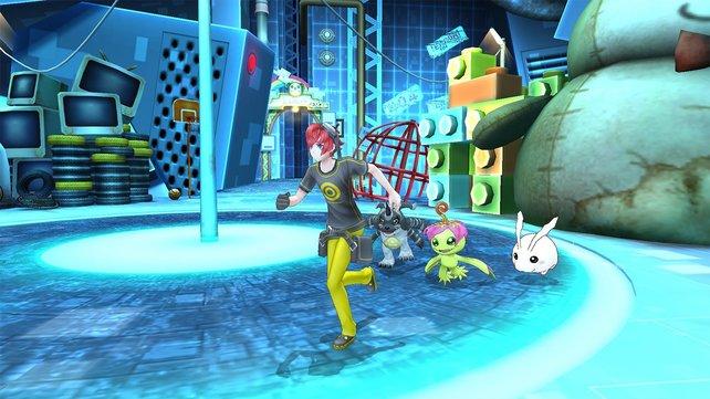 Digimon Story - Cyber Sleuth: Die süßen Digimon watscheln stets hinter euch her.
