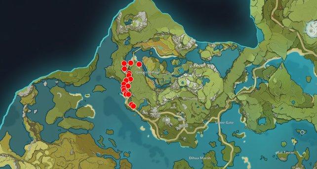 Die Karte zeigt euch einige Bambussegment-Fundorte in Genshin Impact.