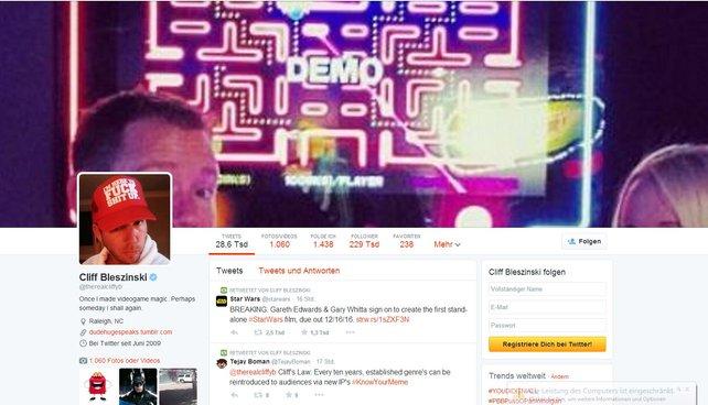 Cliff Bleszinski bietet ein buntes Twitter-Profil.