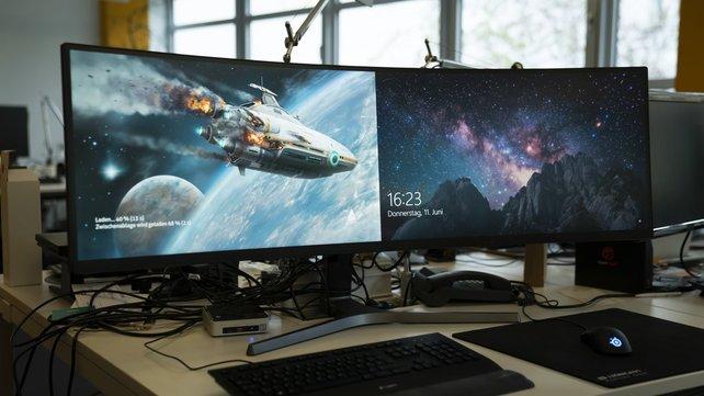 Der Samsung C49RG94SSU ist so groß wie zwei Bildschirme.