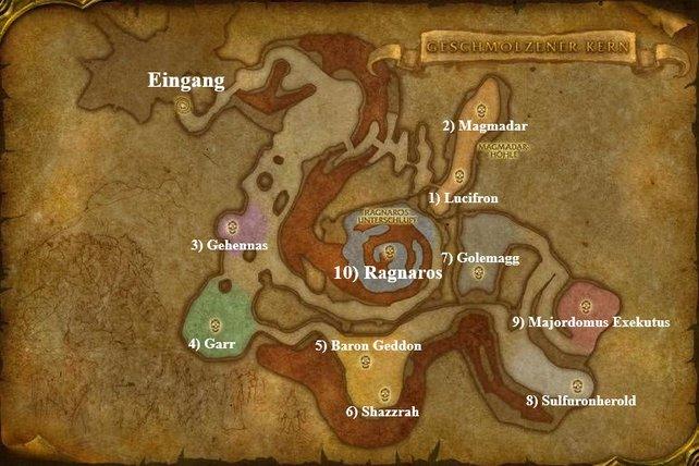Standort und Reihenfolge aller Bosse im Geschmolzenen Kern in World of Warcraft: Classic.